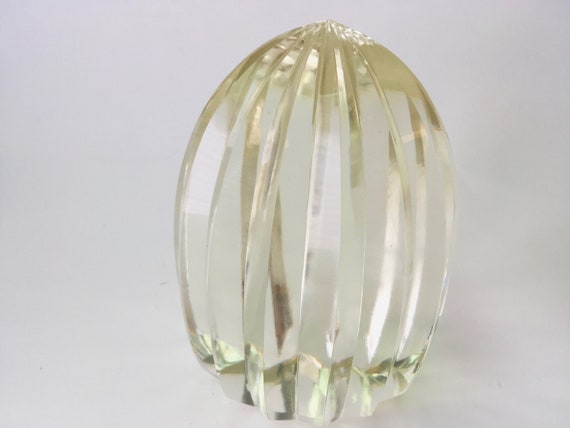 Clear Glass Ribbed Paperweight