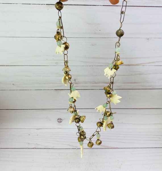 Animal Bead Necklace, Vintage Fetish Charms