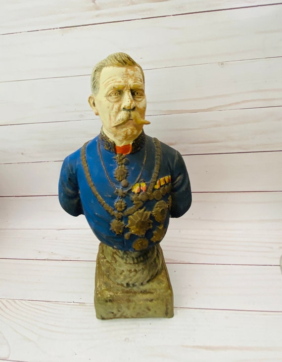 Classical Bust Sculpture- Clay Bust- Army General Bust