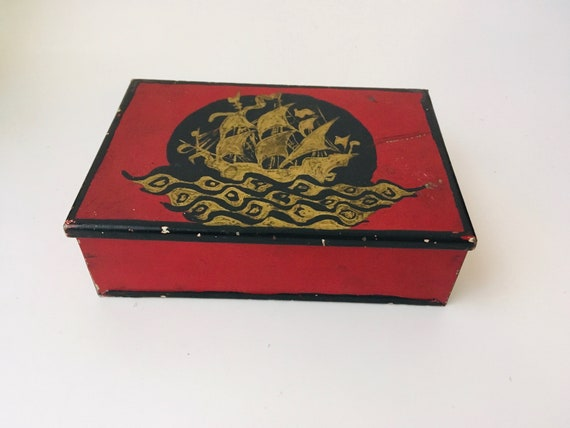 Vintage Pirate Ship Metal Jewelry Box
