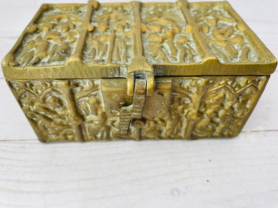 Vintage French Gothic Revival Brass Box--Vintage Medieval Revival Brass Box--Medieval Art