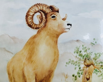 Ram Painting On Metal Plate/Ram Painting/Vintage Art/Hand Painted Art/Cabin Art/Man Cave Art/Gift For Him/Mountain Landscape/Animal Art