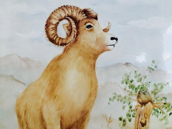 Ram Painting On Metal--Man Cave Art
