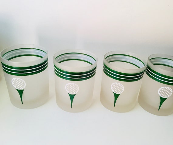 Vintage Set Of 4 Trendsetter Golf Bar Glasses