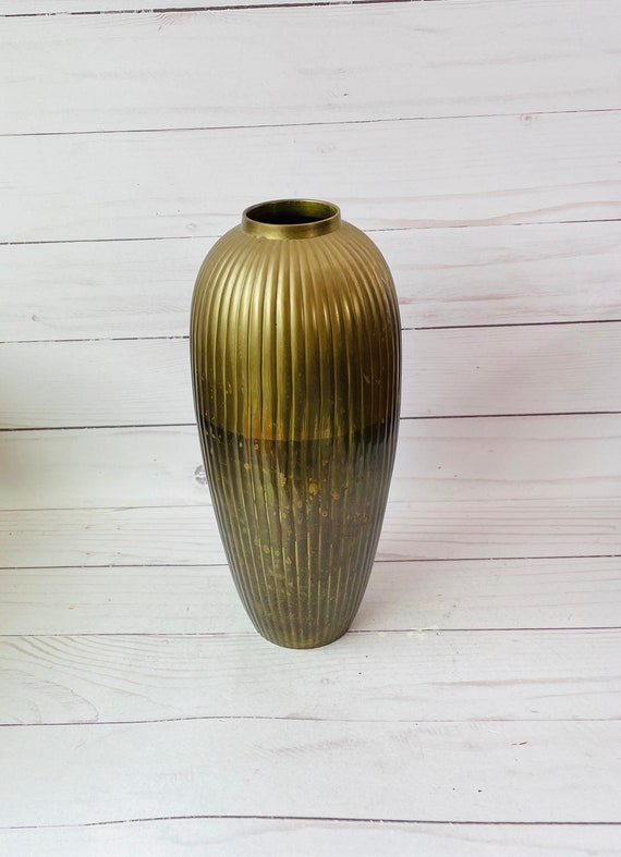 Tall Brass Vase, Vintage from the 80s