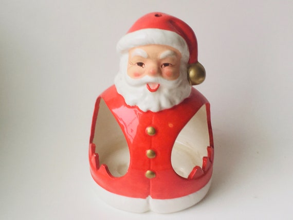 Vintage Inarco Japan Santa Shaped Christmas Candleholder