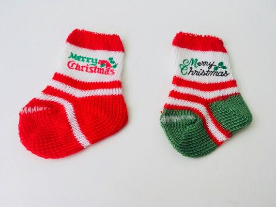 Vintage Pair Of Mini Christmas Socks