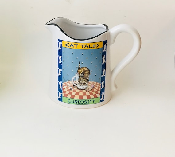 """1998 Cat Tales """"Curiosity"""" Pitcher By Gary Patterson Creator of Smiles Westwood"""
