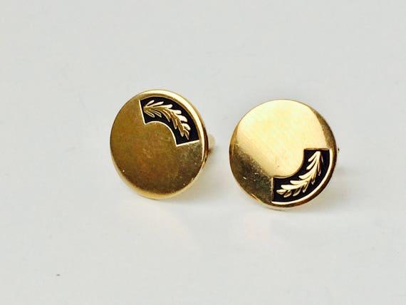 Vintage Swank Gold Tone Round Cufflinks With Black Detail
