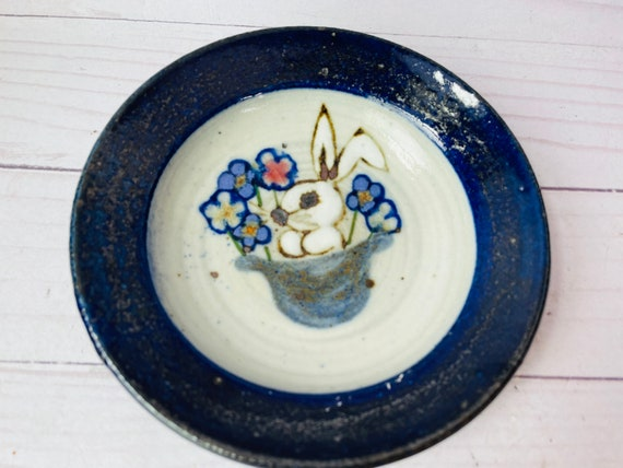 Studio Pottery Trinket Dish With Bunny--Rabbit--Magician Gift