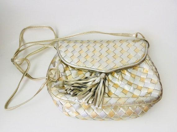 Vintage Morris Moskowitz Gold Woven Leather Bag