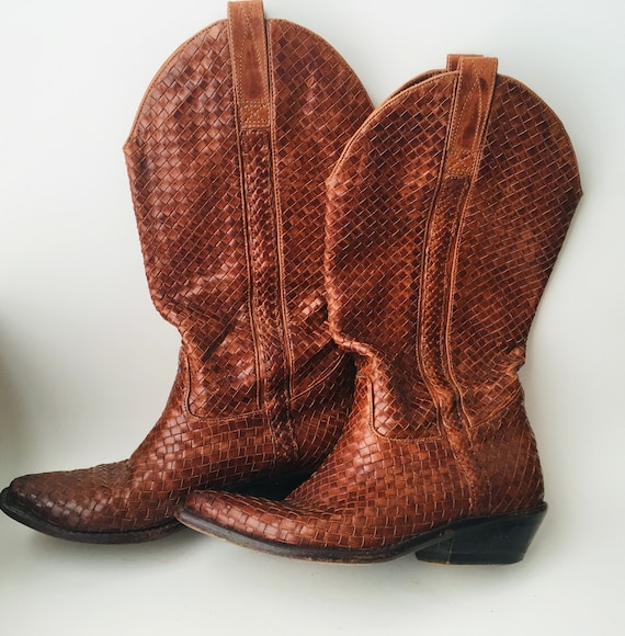 Vintage Cole Haan Woven Leather Cowboy Boots Size