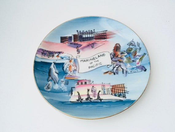 1950s Marineland Of The Pacific Hand Painted Plate