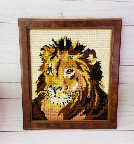 Lion Needlepoint--Animal Art