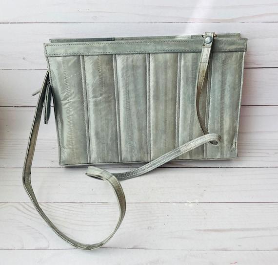 Vintage Eel Skin Leather Purse--Eel Purse--Grey Leather Purse