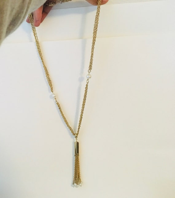 Vintage Gold Tone Multi Strand Necklace With Pearl Tassel