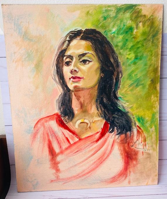 Vintage Original Portrait Painting Of A Woman--Vintage Portrait
