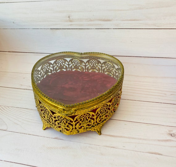 Jewelry Boxes - Large Heart Shaped Ormolu Box