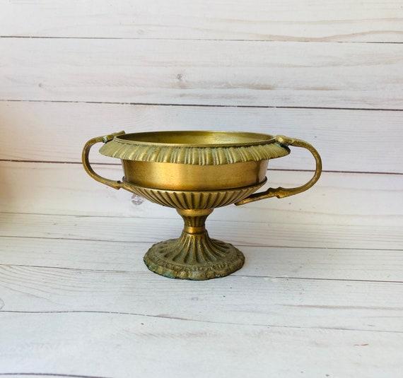 Vintage Trophy Shaped Planter--Brass Urn Shaped Planter--Brass Trophy Cup