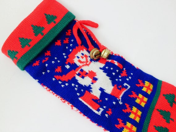 Vintage Knit Frosty Christmas Stocking
