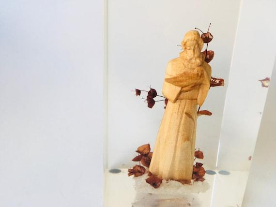 Vintage Wood Carved Saint Francis- Religious Staue