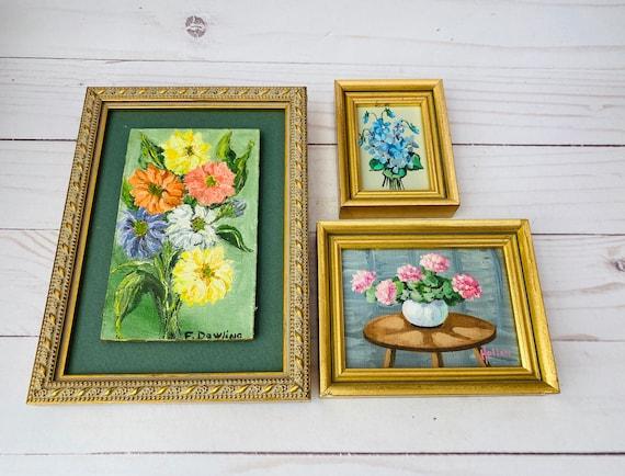 Vintage Set of Mini Flower Paintings--Original Flower Painting--Mini Framed Art