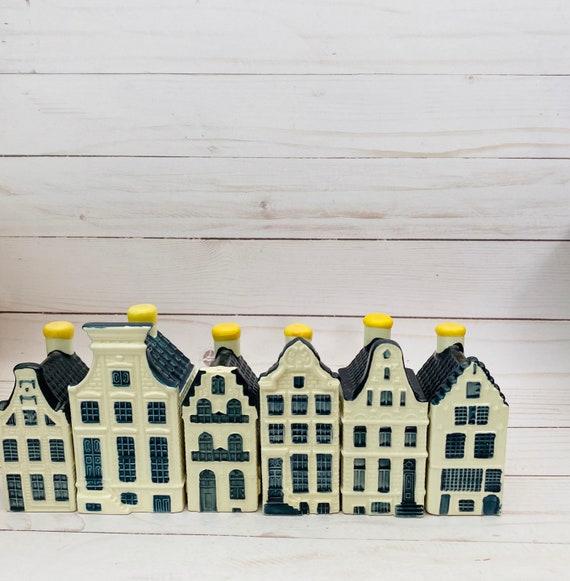 Vintage Lot Of 3 KLM Delft Houses- KLM House