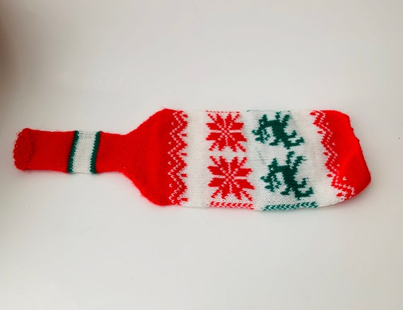 Vintage Sweater Knit Wine Bottle Cover With Reindeer