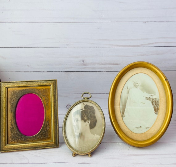 Set of 3 Vintage Photo Frames--Set of Gold Frames--Small Vintage Frames