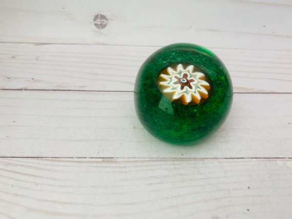 Vintage Green Glass Paperweight