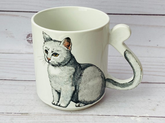 Vintage Cat Mug With Tail Handle--Vintage Cat Mug Made in Japan