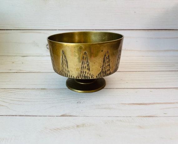 Vintage Brass Pedestal Bowl--Etched Brass Dish