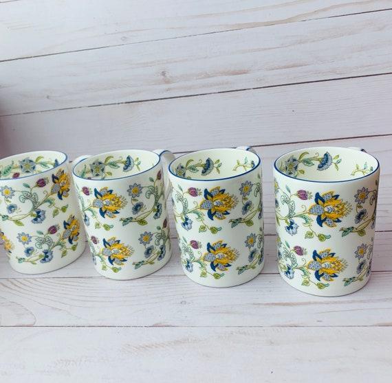 Vintage Set Of 4 Minton Haddon Hall Blue Mugs