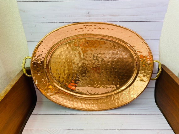 Hammered Copper Tray--Oval Copper Tray--Copper Bar Tray