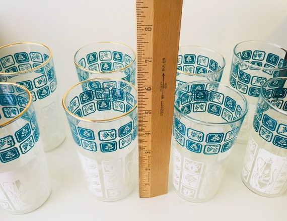 MCM Set of 8 Turquoise Blue & White Patterned Drinking Glasses