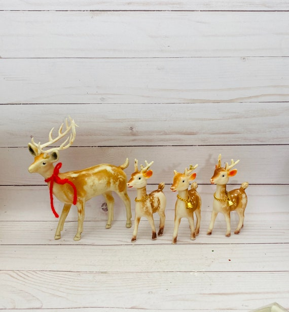 Set of 4 Vintage Plastic Deer