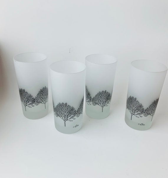 Highball Glasses With Trees, Set of 4 Vintage MCM Cera Frosted
