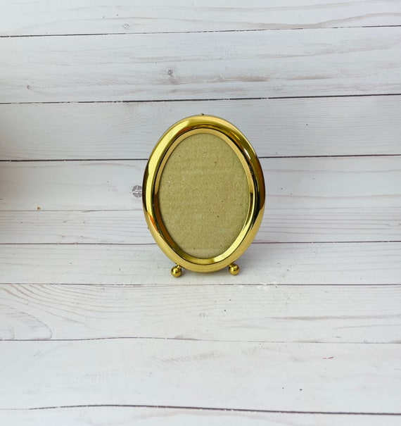 Vintage Oval Brass Photo Frame--Brass Photo Frame
