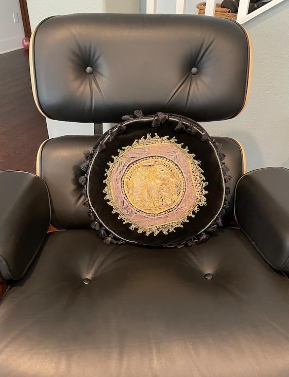Vintage Embroidered Elephant Pillow--Black Throw Pillow--Embroidered Pillow
