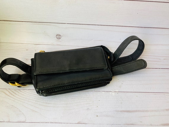 Vintage Black Leather Belt Bag--90s Accessories--Festival Bag--Belt Bag