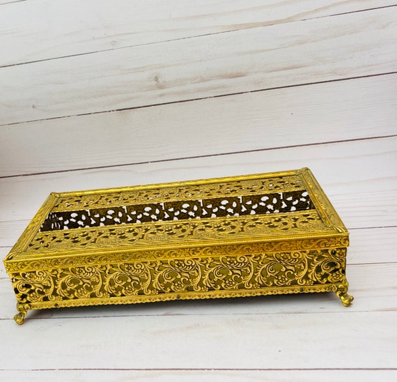 Gold Ormolu Rectangular Tissue Box Holder
