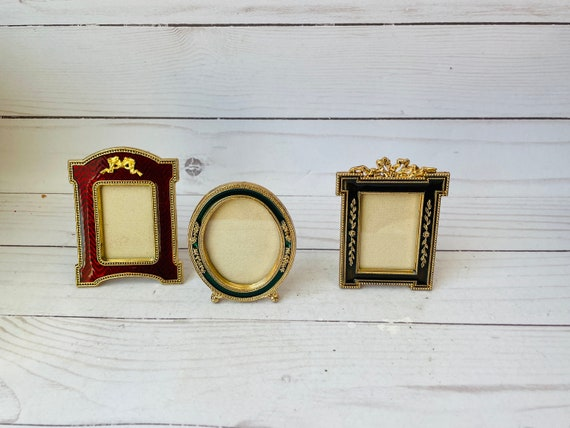 Lot of 3 Vintage Photo Frames--Set of Gold Frames--Mini Enamel Photo Frames