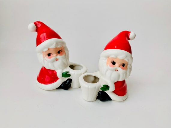 Vintage Pair Of Made in Japan Santa Candle Holders