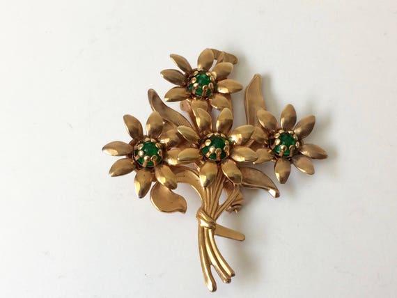 Vintage Copper Tone Flower Bouquet Brooch