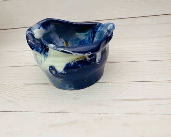 Vintage Blue & White Stoneware Pottery Jar