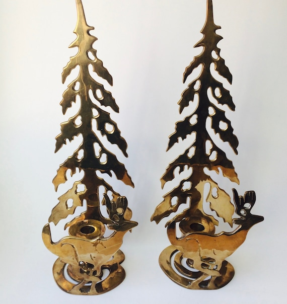 Vintage Large Solid Brass Taper Candlestick Holders With Deers And Trees