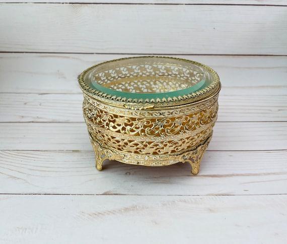 Brass Ormolu Jewelry Box - Vintage Round Filigree Jewelry Box