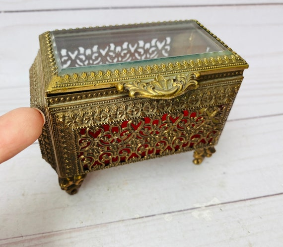 Vintage Brass And Glass Ormolu Jewelry Box--Ormolu Box--Filigree Box