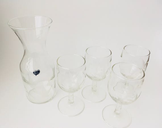 Vintage Javit Crystal Wine Barware Set With Etched Ducks