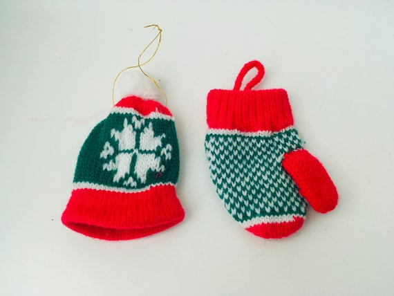 Pair Of Machine Knitted Christmas Ornaments